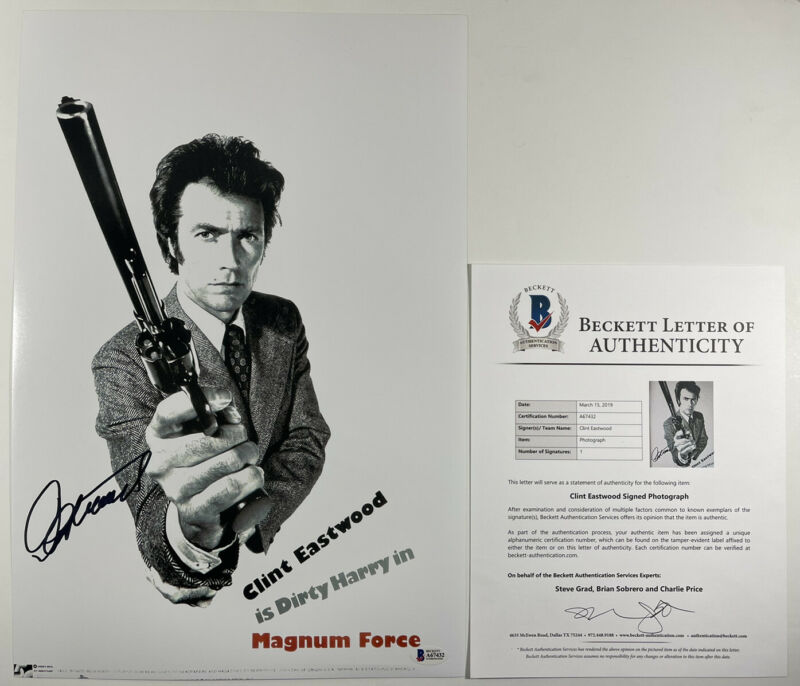 CLINT EASTWOOD SIGNED DIRTY HARRY MAGNUM FORCE 12x18 PHOTO BAS LOA #A67432