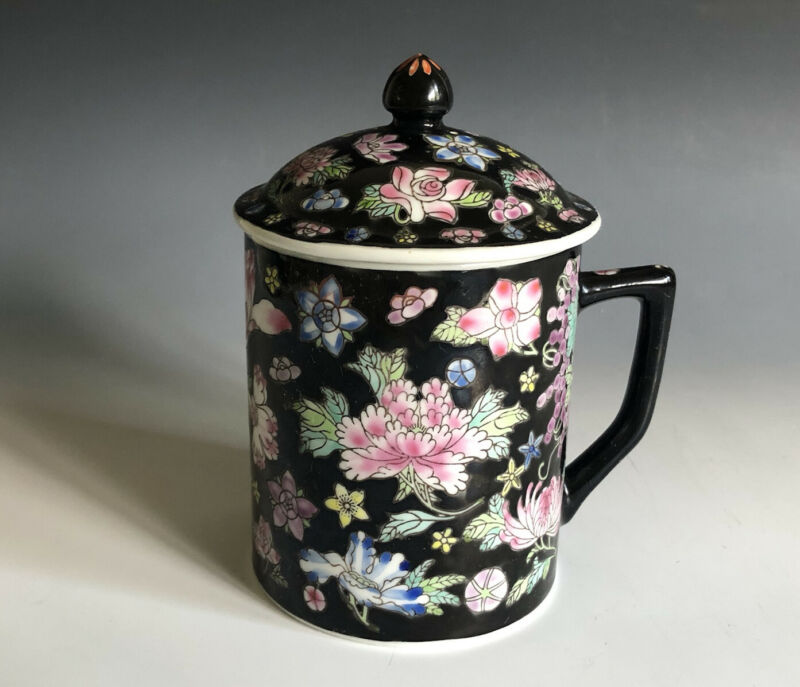 Vintage Lidded Chinese Fmaille Rose Porcelain Mug Teacup Hand Painted Jingdezhen