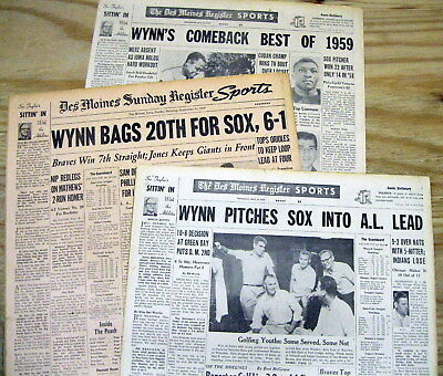 (5 1959 display newspapers EARLY WYNN in best season w CLEVELAND INDIANS baseball)