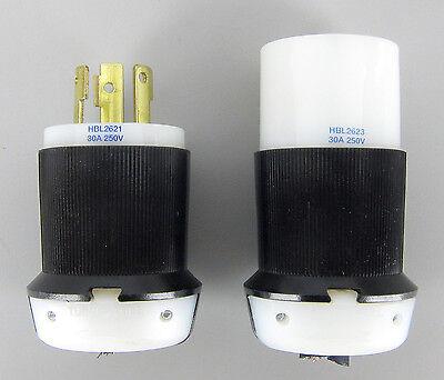 Hubbell Male Female 30a 250v Twist Lock Plug Set Lot nema L6-30