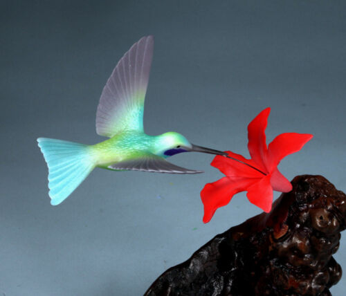 VIOLETEAR HUMMINGBIRD by JOHN PERRY 7in tall Red flower sculpture New direct