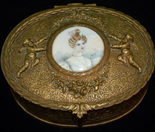 HEIRLOOM Antique HAND PAINTED/SIGNED Portrait CHERUBS Casket TRINKET Vanity BOX