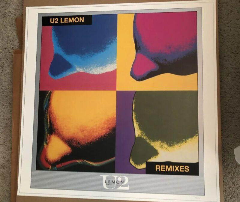 U2 Poster 1987 Lemon Remixes Stunning Color Rare #/250 Copies Pristine Shape 🍋