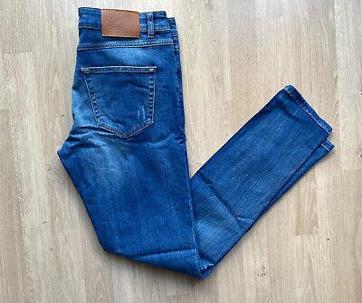 Hoxton Denim Skinny Stretch Mid-Rise Soft Blue Jeans W33 L34