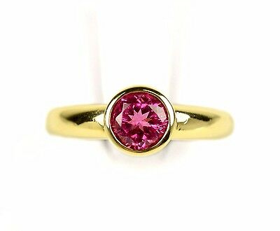 14k Yellow Gold Bezel Set 6mm Round Cut Pink Sapphire Solitaire Ring Size 6.25