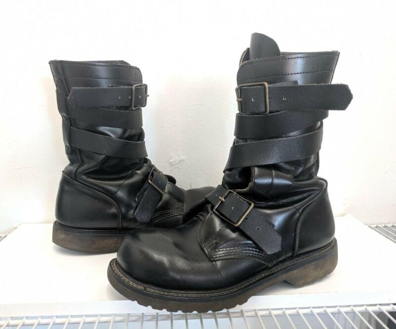 Corcoran 1980s Vintage Men's Black Leather Military Combat Tanker Boots Sz 9.5
