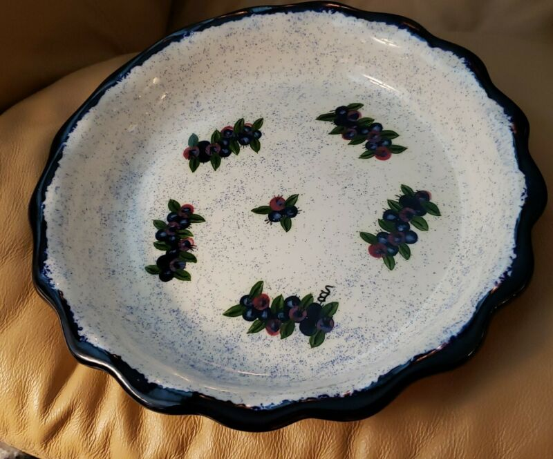 """Stoneware Maine Blueberry Pottery Pie Plate Pan 11"""" Scalloped Edges"""