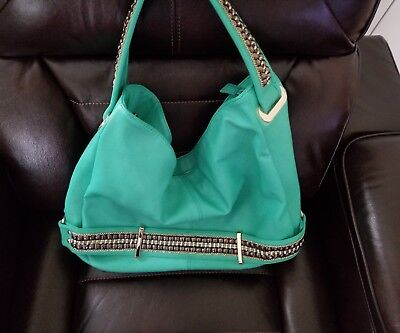 NWT Charming Charlie Hobo style purse bright mint green with gold embellishment