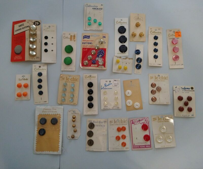 Lot Of 98 Vintage Buttons On Cardboard- Lot #1