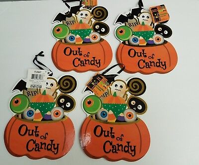 Lot of 4 Happy Halloween Reversible Trick or Treat Out of Candy Decoration Signs - Reverse Trick Or Treating Halloween