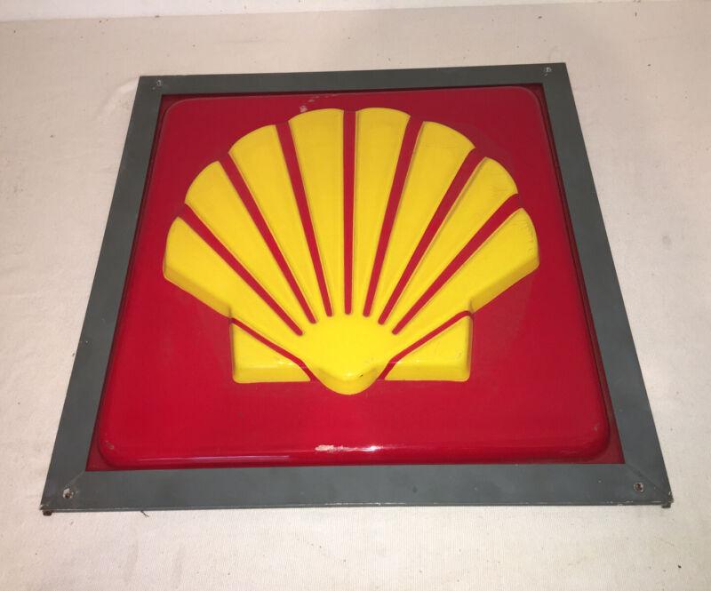 "RARE VINTAGE SHELL GAS/OIL/ SERVICE STATION DEALERSHIP SIGN 20.5"" X 20.5"""