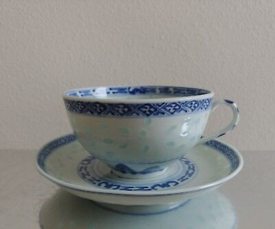 Vintage Chinese porcelain rice grain blue and white tea cup and saucer marked