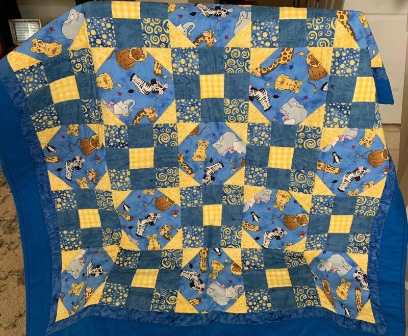 Handmade Baby Quilt Crib Blanket Blue Yellow Zoo Animals Flannel Backing Unused
