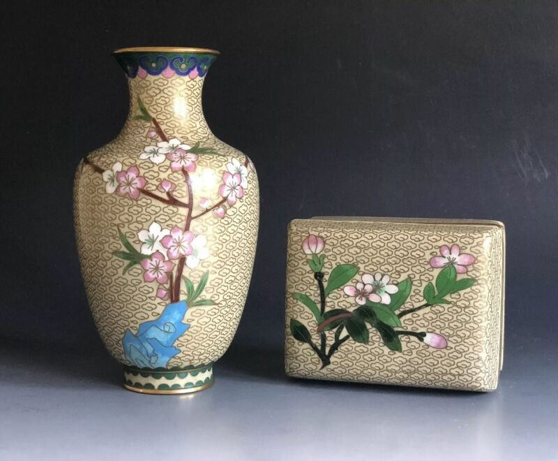 Set Of 2 Chinese Cloisonne Enamel On Bronze Vase & Box
