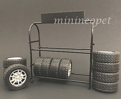 AMERICAN DIORAMA 77518 METAL TIRE RACK with WHEELS FOR 1/18 DIECAST MODEL CAR