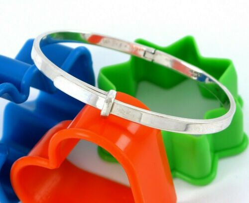 Sterling Silver 925 Mexico Solid Hinged Strap Design Bangle Bracelet