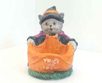 Vintage J.S.N.Y. Ceramic Halloween Trick Or Treat Cat Trinket Candy Holder Dish](Halloween Candy New York)