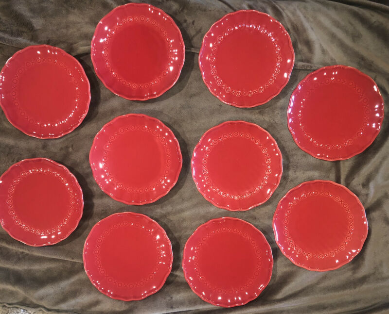 RetIred SET of 10 Pottery Barn VALENTINE PLATES Appetizer Dessert, XOXO plates