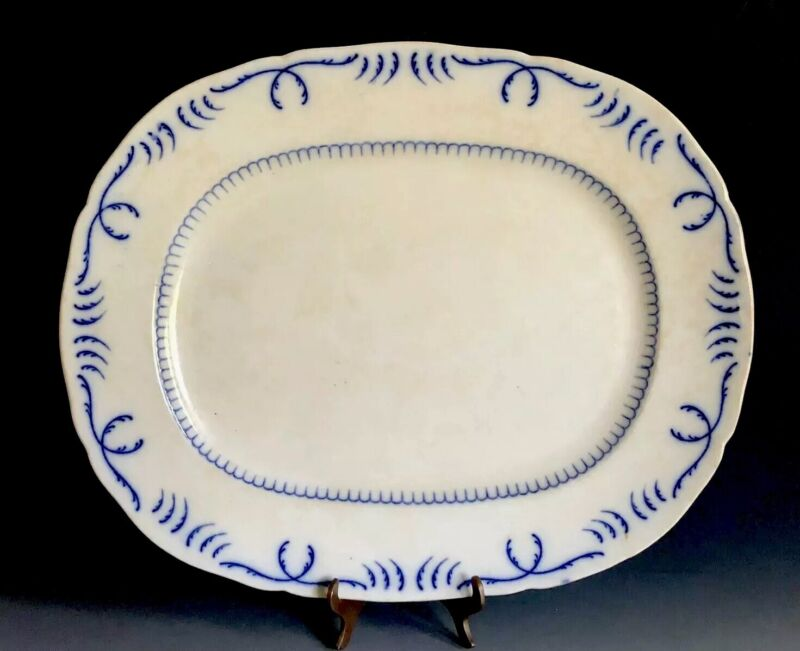 Antique English Porcelain Platter Crown Mark & Diamond English Registry Mark
