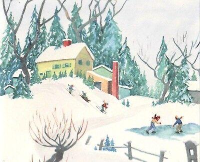 VTG 1940'S CHRISTMAS GREETING CARD CHILDREN DOWN HILL SKIING SLEDDING SCENE ()