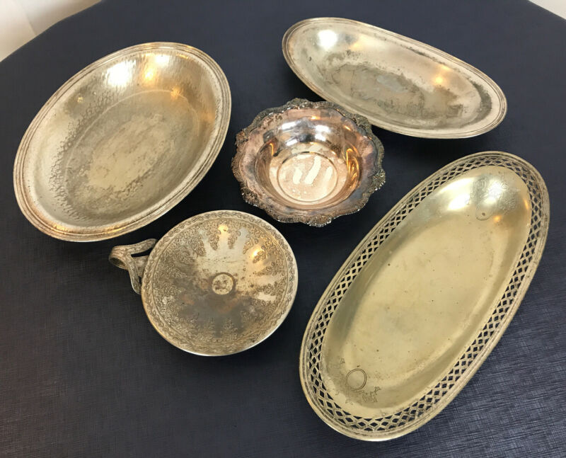 5 Vintage Silver plate Serving Platter Tray Oblong Oval dish  3 lbs