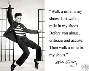 elvis quot walk a mile in my shoes quot autograph quote 8