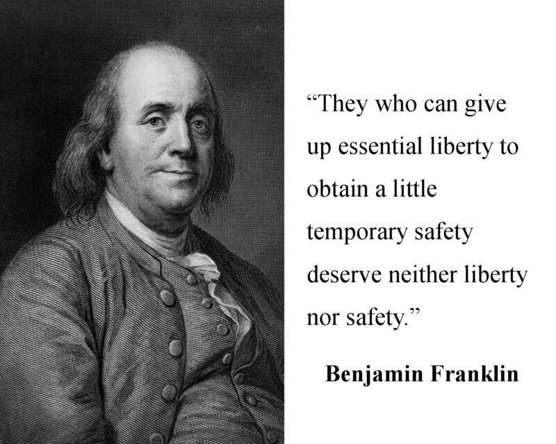 """Benjamin Franklin """" liberty... """" Quote 8 x 10 Photo Picture Photograph # mb1"""