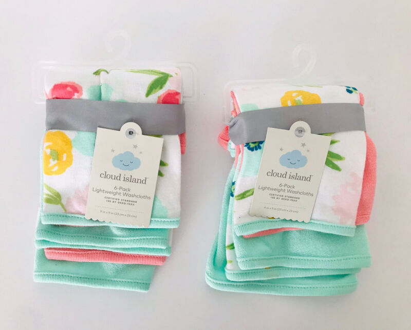 """Cloud Island Infant 12 Pack Lightweight Washcloths 9"""" x 9"""" Assorted Floral NWT"""