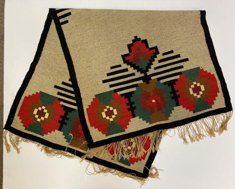 "Vintage Danish Wool Wall Table or Floor Runner 46.5"" x 24.75"" Hand Made Rug"