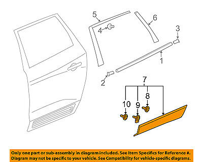 Buick GM OEM 08-16 Enclave Rear Door Body Side-Lower Molding Trim Right 20782950