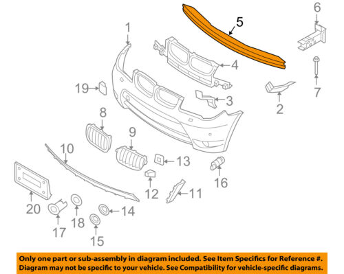 BMW OEM 04-10 X3 Front Bumper-Impact Reinforcement Bar Rebar 511134397