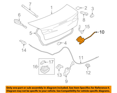 mitsubishi oem 08 15 lancer trunk lock or actuator latch release 1973 Mustang Fastback 10 on diagram only genuine oe factory original item
