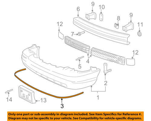 FORD OEM 00-11 Crown Victoria Front Bumper-Cover Molding YW7Z17C829AA