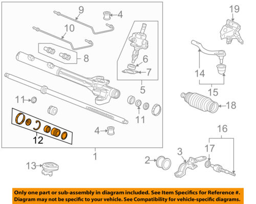 HONDA OEM 03-07 Accord Steering Gear-Seal Kit 06531SDBA01