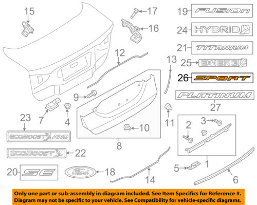 FORD OEM 13-18 Fusion Trunk Lid-Emblem Badge Nameplate DS7Z9942528W