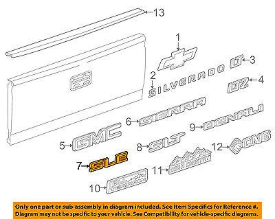 GMC GM OEM 14-16 Sierra 1500 Bed / Fender-Emblem Badge Nameplate 22980988