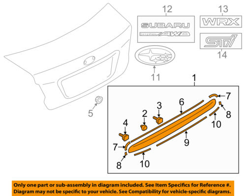 Genuine Subaru Trunk Lid Trim 91112FJ060NN