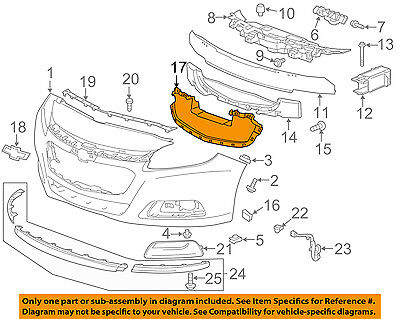 Chevrolet GM OEM 14-15 Malibu Front Bumper Grille-Air Deflector 22995190