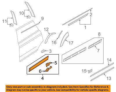 AUDI OEM 10-15 Q7 Rear Door Body Side-Lower Molding Trim Right 4L0853970QGRU