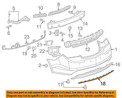 Buick GM OEM 14-16 LaCrosse Rear Bumper-Lower Molding Trim 9060576