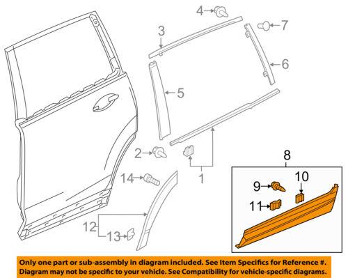 Genuine Honda Pilot Rear Door Body Side Molding Garnish Right Protector OE