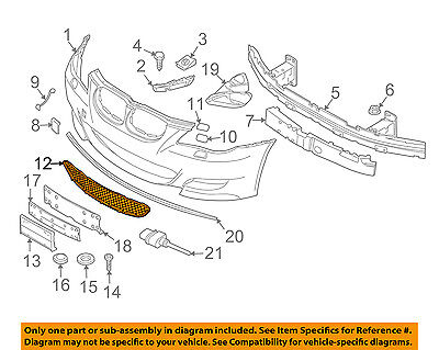 BMW OEM 06-10 M5 Front Bumper-Lower Bottom Grille Grill 51117895739