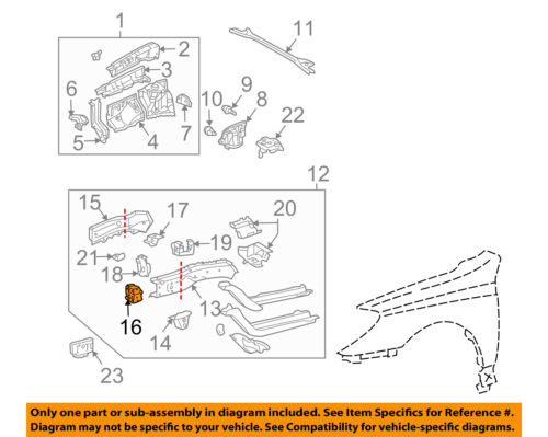 toyota oem fender rail end right 5711706030 ebay Ford Focus Diagram 16 on diagram only genuine oe factory original item