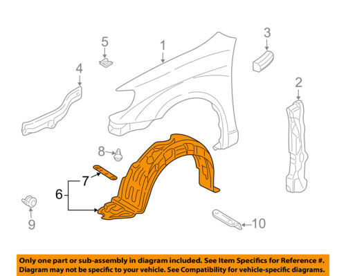 03-08 TOYOTA MATRIX SET OF 5 FENDER SPLASH SHIELD LINER CLIP BRAND NEW