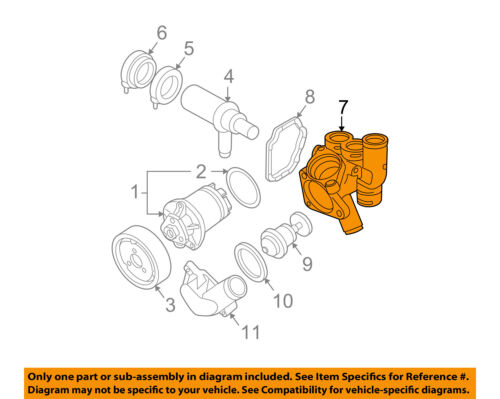 vw volkswagen oem 2007-2008 eos-engine coolant thermostat housing 022121117c