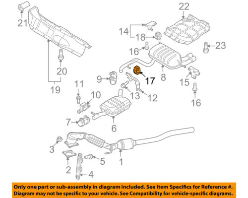 vw volkswagen oem 09 17 cc 2 0l exhaust muffler \u0026 pipe retainer ring