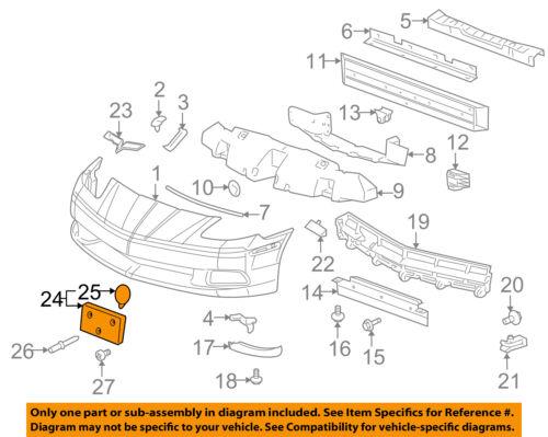 Cadillac GM OEM Front Bumper-License Plate Frame Bracket Holder Mount 15933051