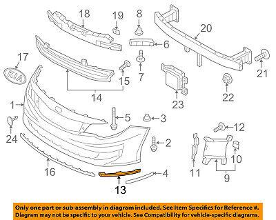KIA OEM 16-18 Optima Front Bumper Grille Grill-Trim Molding Left 86563D5000
