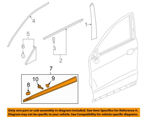 acura honda oem 13 18 rdx front door lower cladding right  7 on diagram only genuine oe factory original item