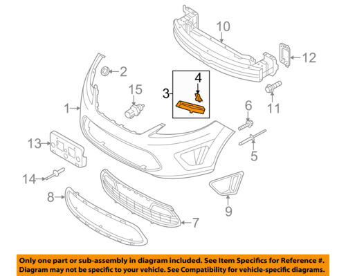 FORD OEM 11-16 Fiesta Front Bumper-Retainer Bracket Right AE8Z17E856A